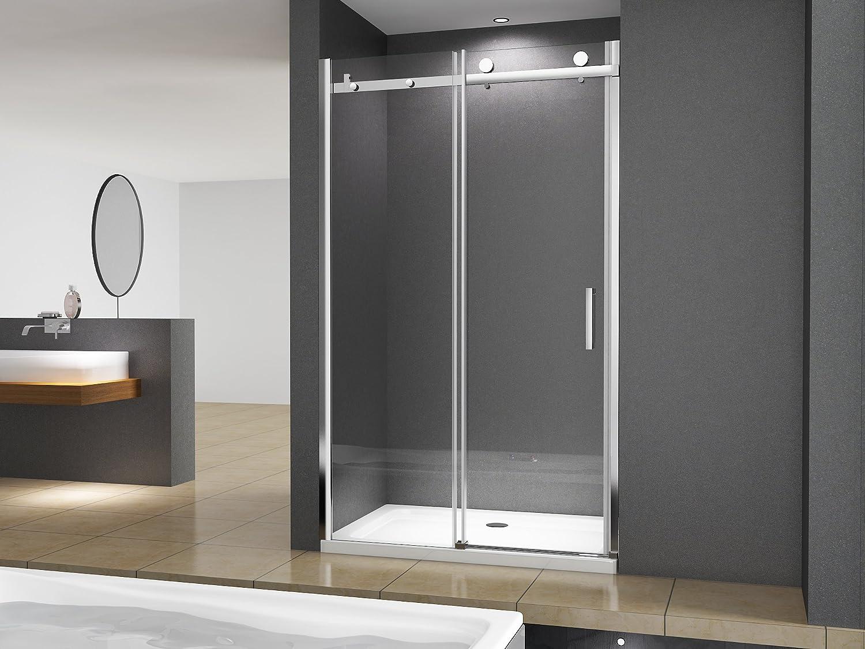salle de bain. BuyLando syst/ème de porte coulissante Porte de niche moderne Victoria 105x195cm // 8 mm ESG verre de s/écurit/é en verre transparent
