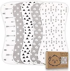 Organic Burp Cloths for Baby Boys - 5-Pack Ultra Absorbent Burping Cloth, Burp Clothes, Newborn Towel - Milk Spit Up Rags - Burpy Bib for Boy - Burp Cloths Set (Grayscape)