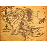 Map of Middle Earth The Lord of The Rings Fabric Canvas Cloth Poster Print for Bar Office Room Wall Print Home Decoration (21cm x 30cm 30cm x 41cm 36cm x 46cm)
