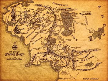 Amazon.com: KSM Map of Middle Earth The Lord of The Rings Fabric ...