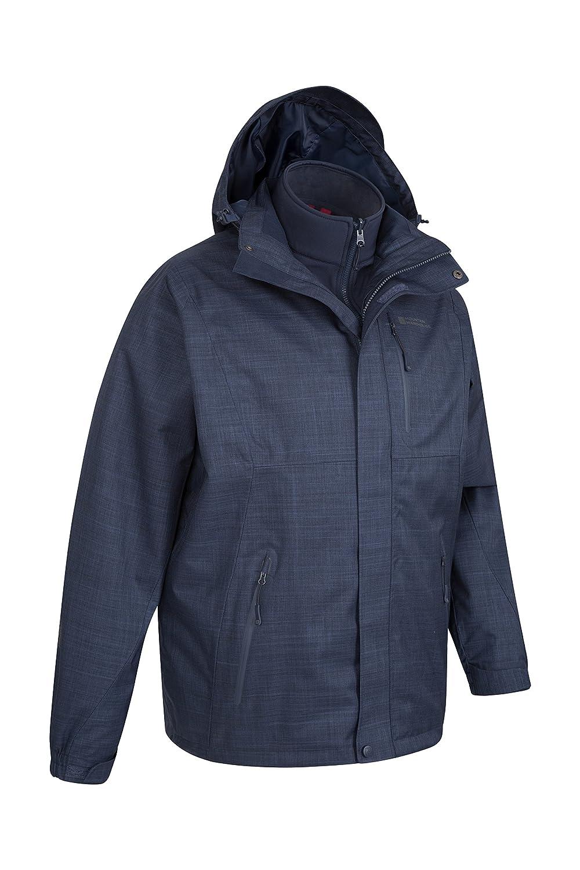 da46204f1 Mountain Warehouse Bracken Melange Mens 3 in 1 Jacket - Lightweight Rain  Coat, Taped Seams, Waterproof Rain Jacket, Breathable - Ideal Mens Coat for  ...
