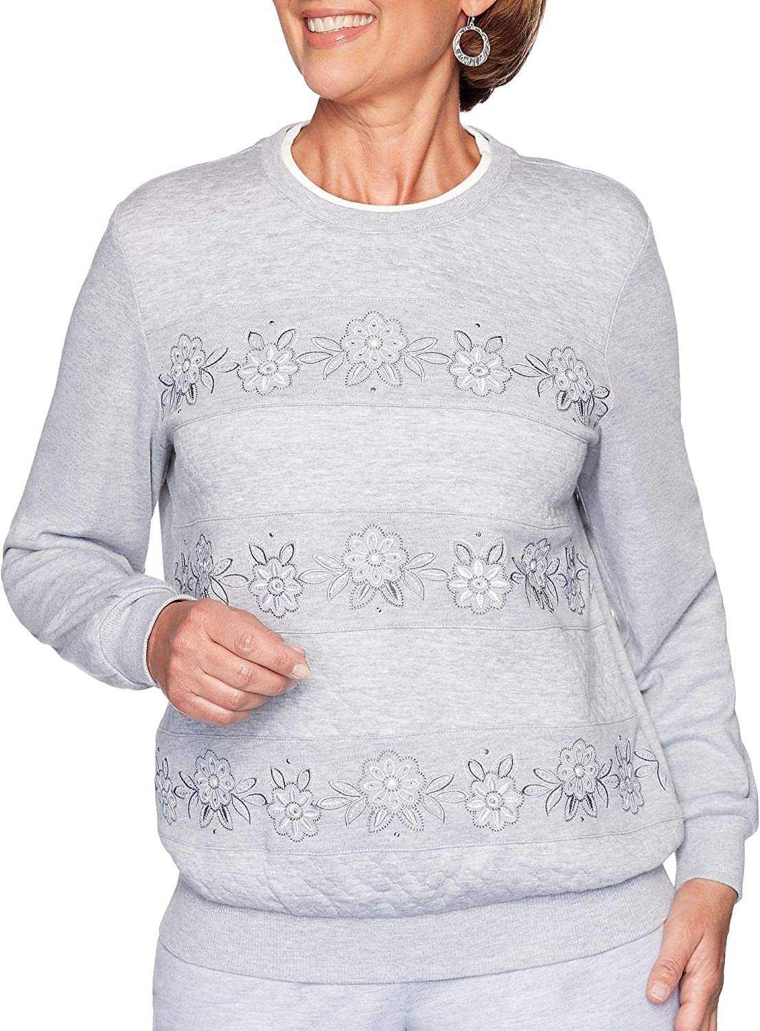 Alfred Dunner Womens All About Ease Quilted Floral Embroidered 1//4 Zip Sweatshirt