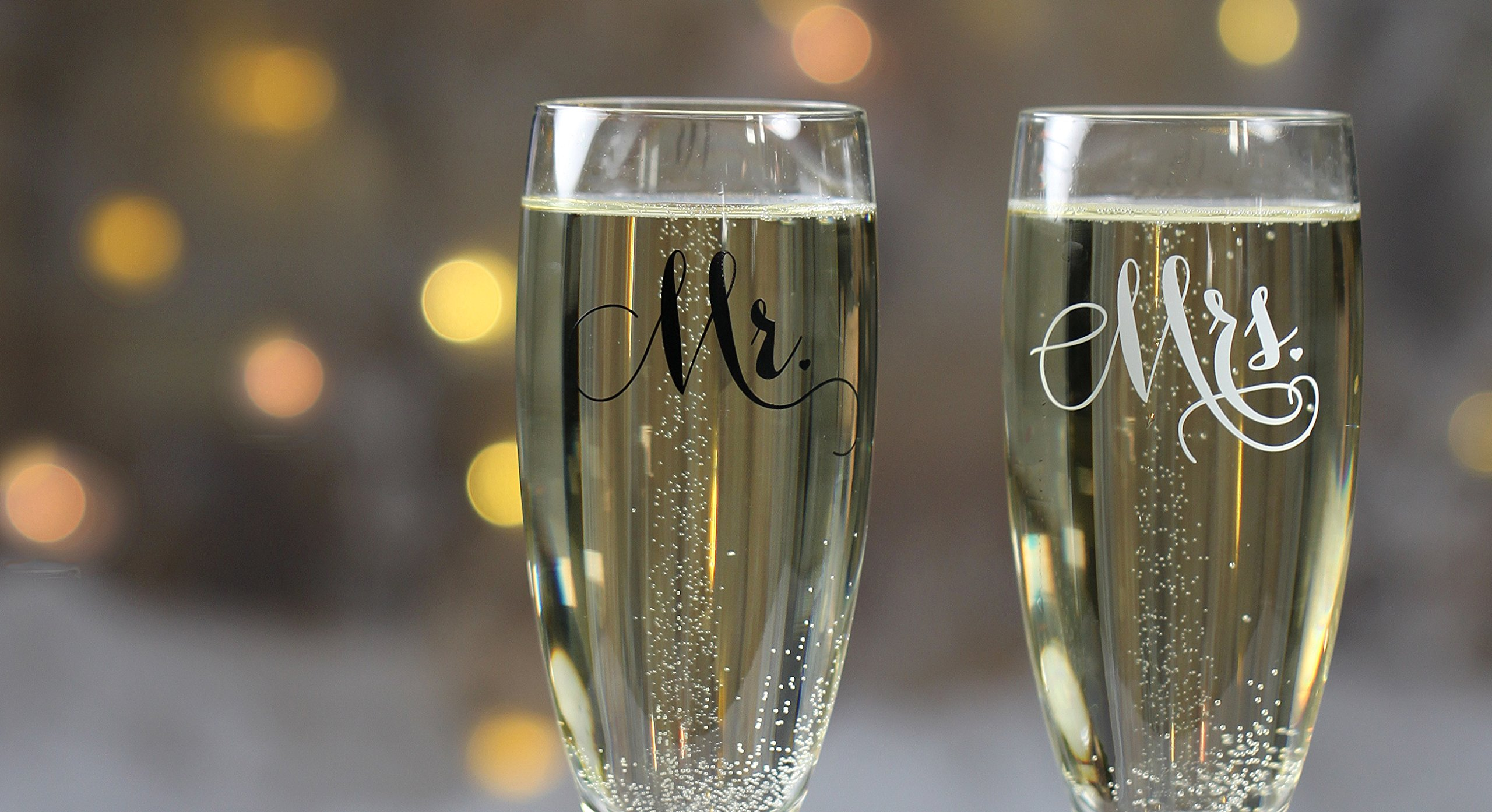 All Things Weddings, Mr. and Mrs. Wedding Glass Champagne Toasting Flutes, Reception or Engagement Bride and Groom Glasses, Set of 2 by All Things Weddings (Image #4)