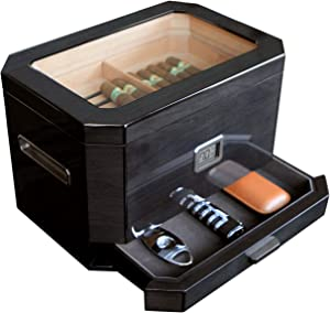 Octodor Large Black Piano Finish Glass Top Cedar Humidor with Digital Hygrometer, Humidification System, and Accessory Drawer - Holds (50-100 Cigars) by Case Elegance