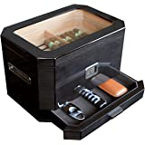 Octodor Large Black Piano Finish Glass Top Cedar Humidor with Digital Hygrometer, Humidification System, and Accessory Drawer