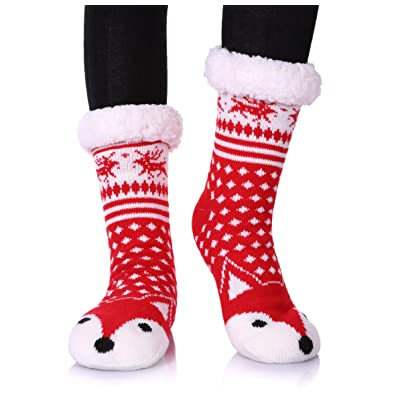 Dosoni Womens Girls Faux Fur Fuzzy Winter Asymmetric Cartoon Animal Cute Fleece-lined Winter Slipper Socks with Grippers (Red Fox) at Women's Clothing store