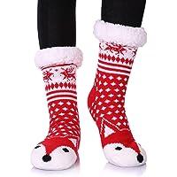 Dosoni Womens Girls Faux Fur Fuzzy Winter Asymmetric Cartoon Animal Cute Fleece-lined Winter Slipper Socks with Grippers