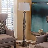 Nova Lighting Hull Arc Lamp Chestnut Brown Wood Body
