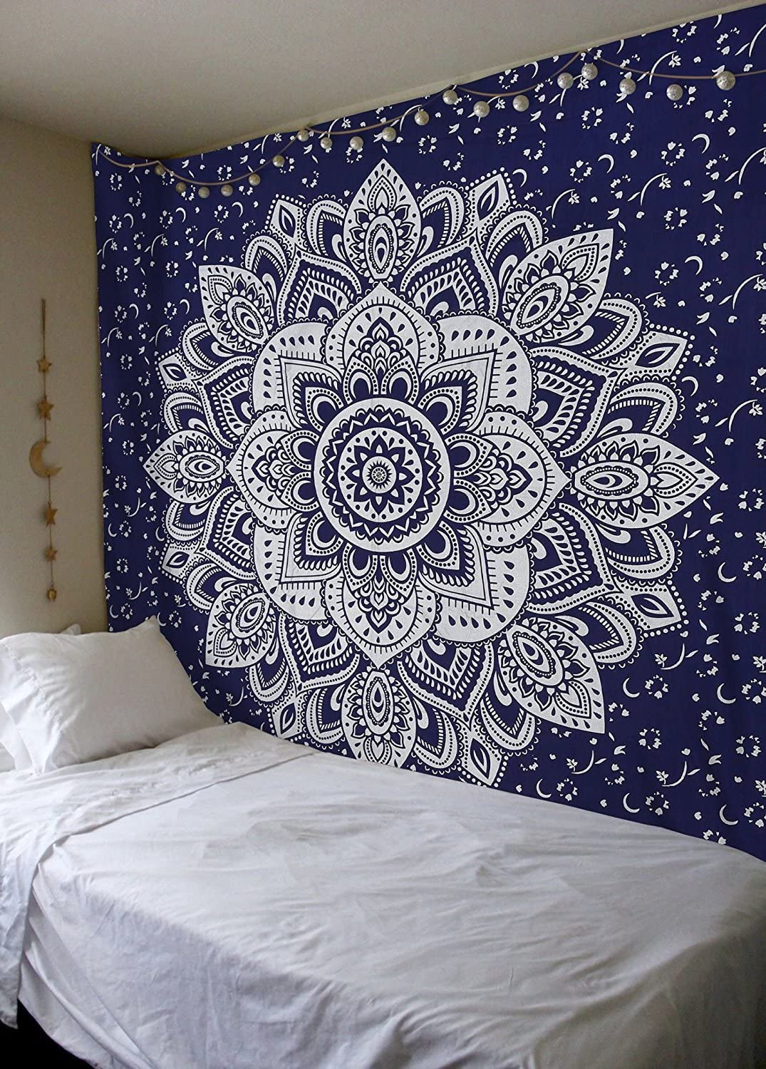 Popular Handicrafts Kp902 Passion Ombre Silver Tapestry Wall Hanging Indian Mandala Hippie Tapestries, Boho Dorm Décor Tapestry, Bohemian Bedspread 84 x 90 Inches Blue
