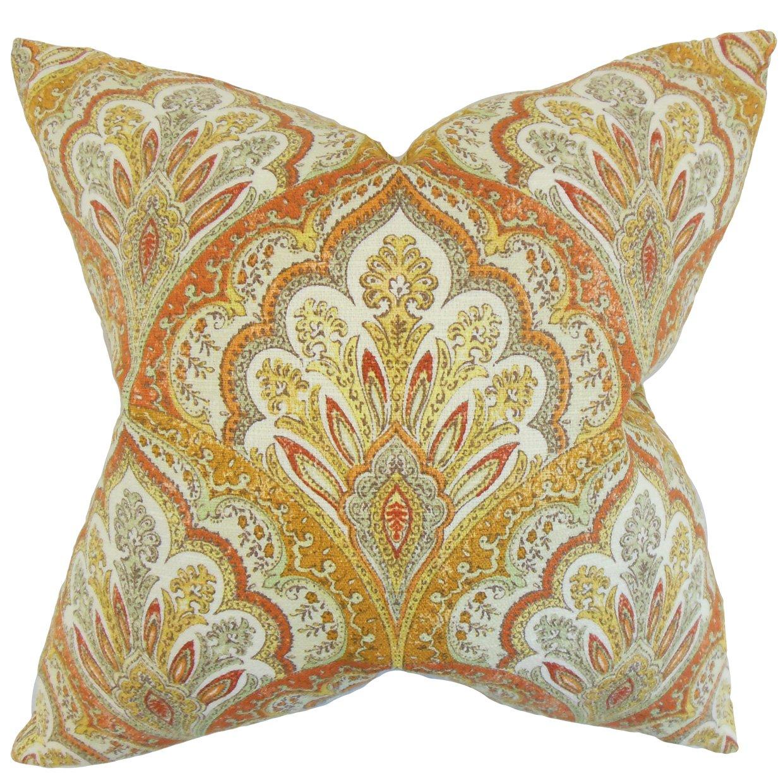 The枕コレクションp20-d-42438-amber-c100 Xanthipeペイズリー枕、オレンジ、20