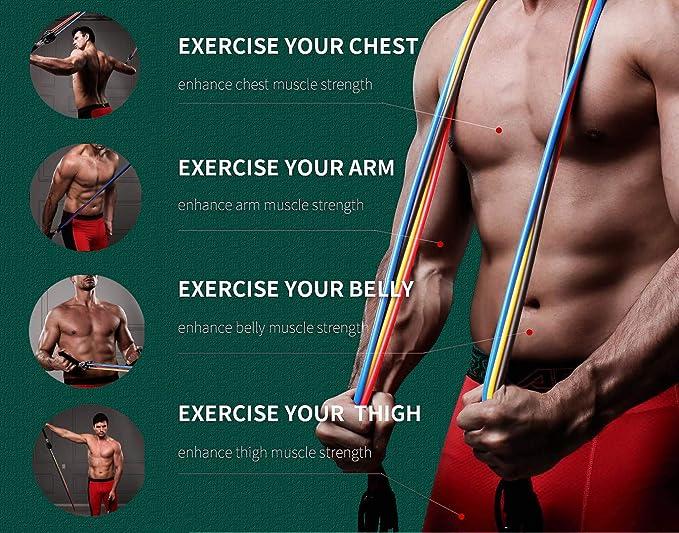Details about  /11pcs Fitness Resistance Bands Set Workout Exercise Tube Bands with Door U3U1
