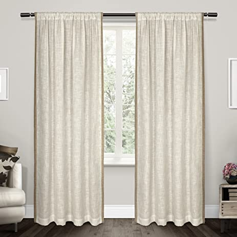 Exclusive Home Curtains Baja Natural Linen With Toned Border Rod Pocket  Window Curtain Panel Pair,