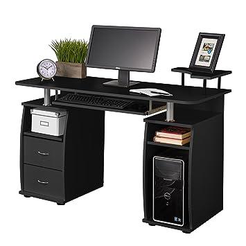 Fineboard Home Office Computer Desk with Raised Side Desktop, Black
