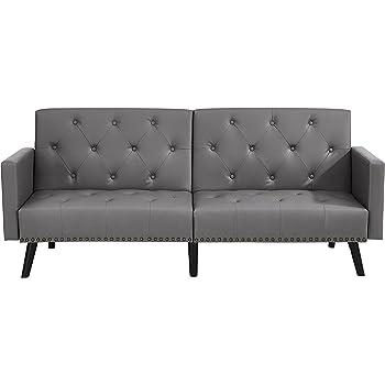 Amazon Com Modern Tufted Fabric Sleeper Sofa Bed With