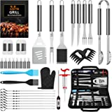 AISITIN 35Pcs BBQ Grill Grilling Accessories Tools Set, Barbecue Tool Sets with Thermometer, Steel Fork, Stainless Steel Tong