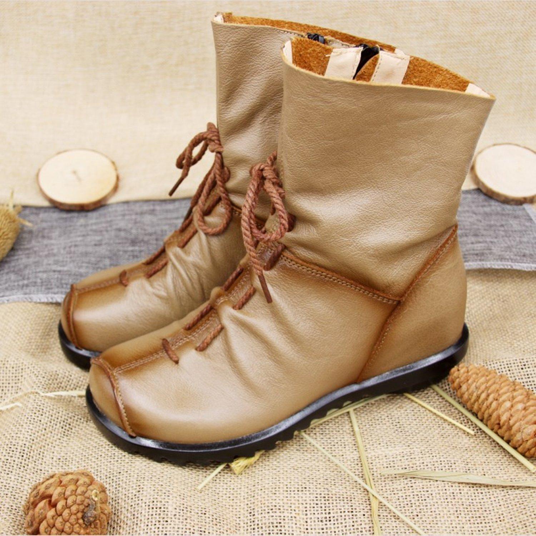 SAGUARO Automne Hiver Femmes Bottines Chaud Cheville Bottes Motard Imperméable Antidérapant Fourrure Boots Mi-Mollet Plat Chaussures, Automne Noir 38