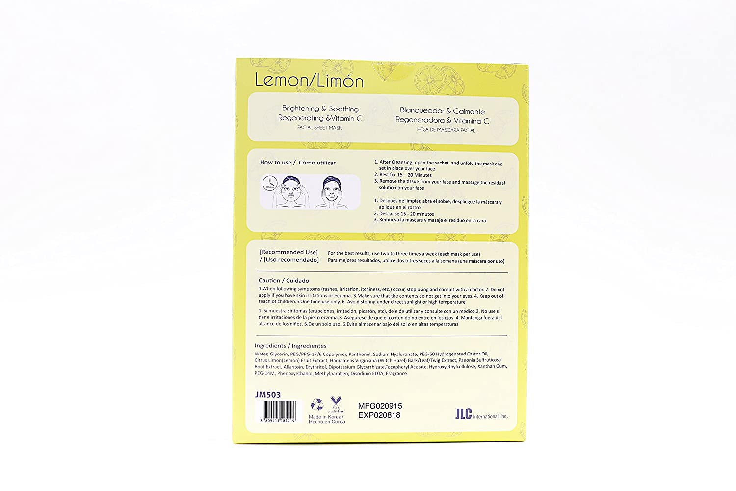 Amazon.com : Lemon Brightening Mask Sheets Full of Vitamins & Minerals 5 Pc : Beauty