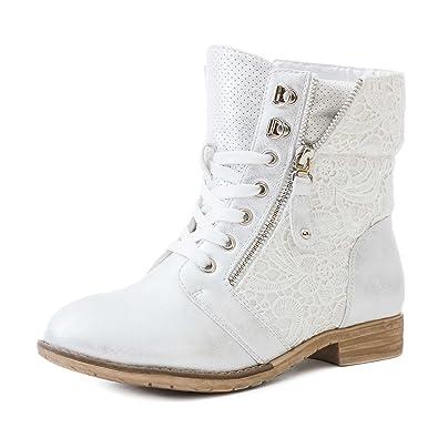 Marimo24 #Trendboot Damen Glitzer Stiefeletten Schnür Boots mit Strass in hochwertiger Lederoptik Grau 39 HlngLabBtI