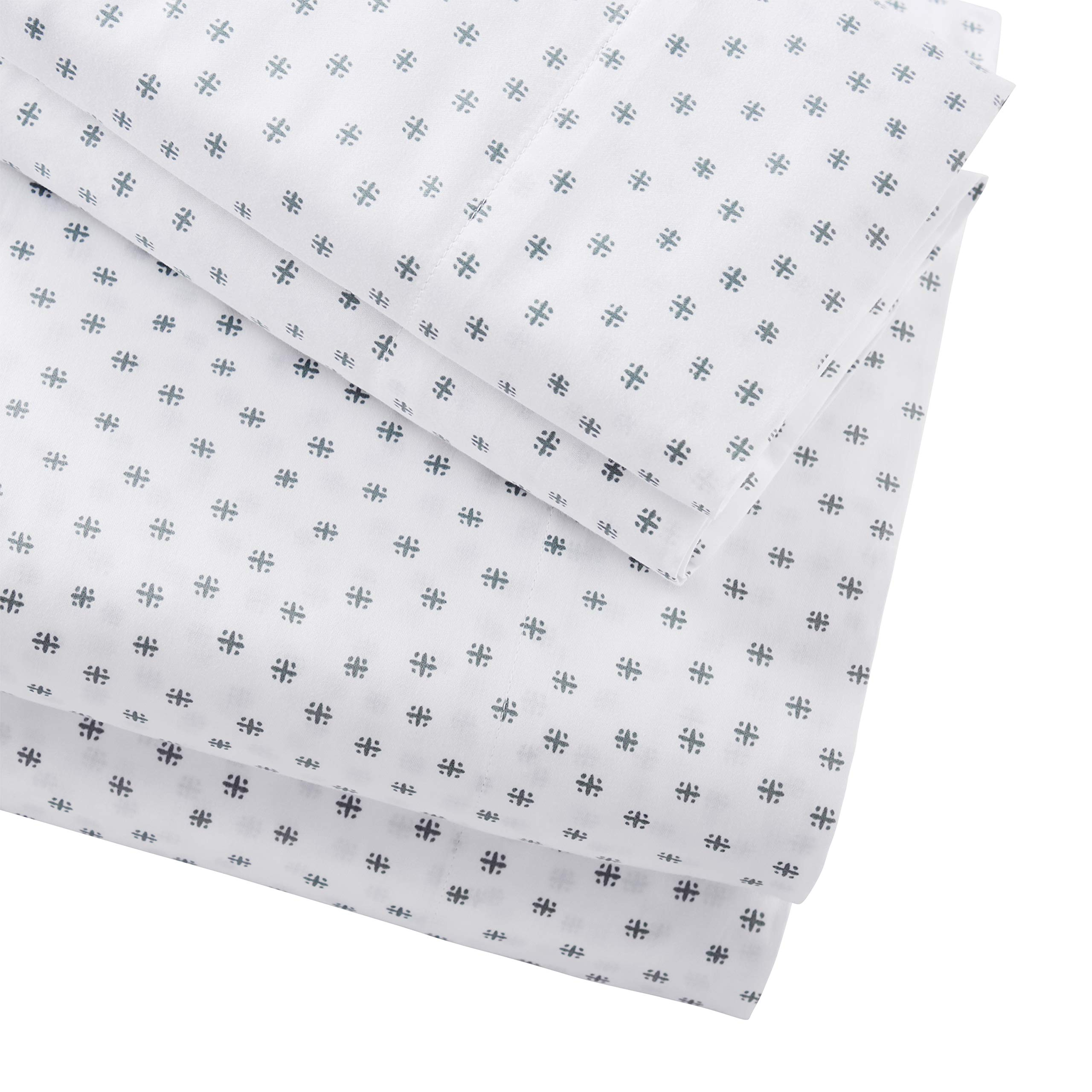 Stone & Beam Starburst 100% Cotton Sateen Sheet Set, Queen, Oasis by Stone & Beam (Image #5)