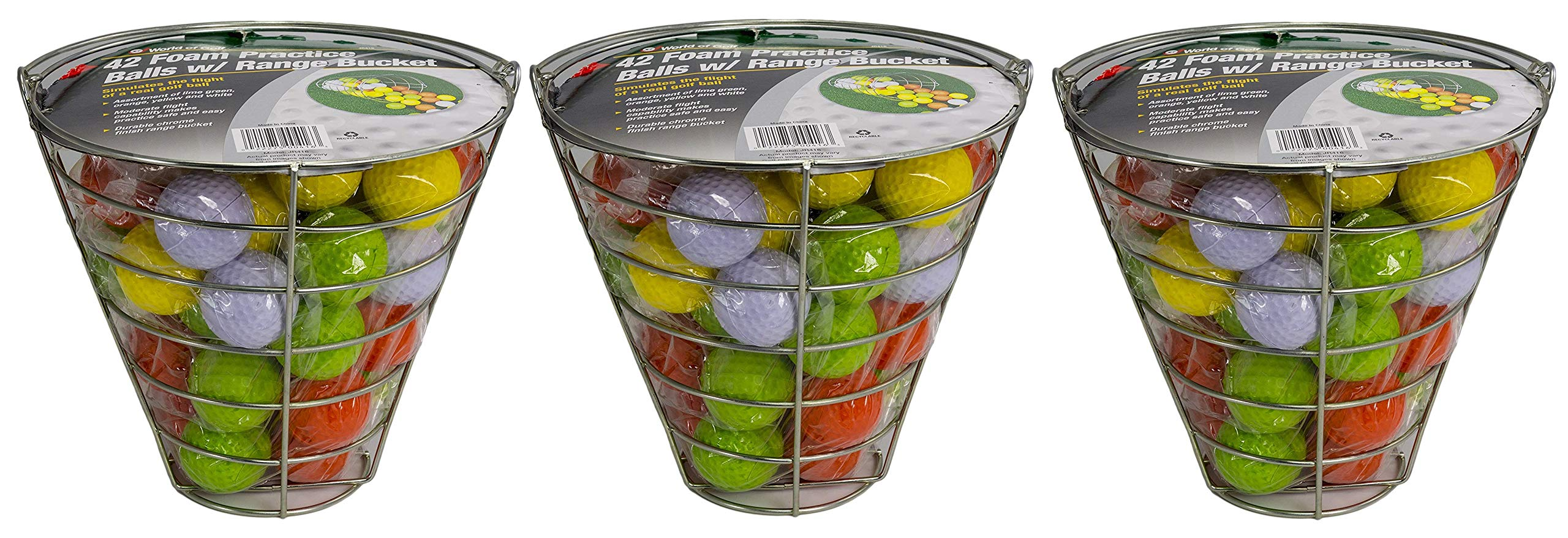 JEF WORLD OF GOLF Foam Practice Balls (42 Multi-Colored Balls) (3-(Pack of 42))