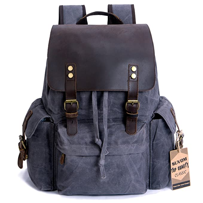 b546b740c3f7 SUVOM Vintage Canvas Leather Laptop Backpack for Men School Bag 15.6 quot   Waterproof Travel Rucksack (
