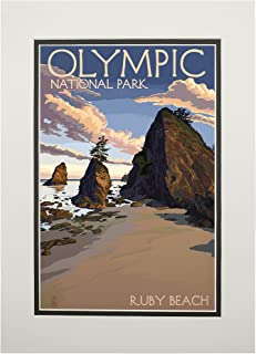product image for Olympic National Park, Washington - Ruby Beach (11x14 Double-Matted Art Print, Wall Decor Ready to Frame)