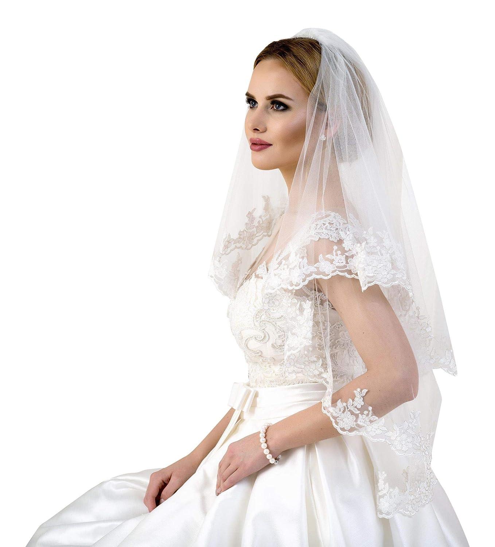 Lacey Bell Voile de Mariage avec une Elegante Bordure en Dentelle 70//90cm LV-28