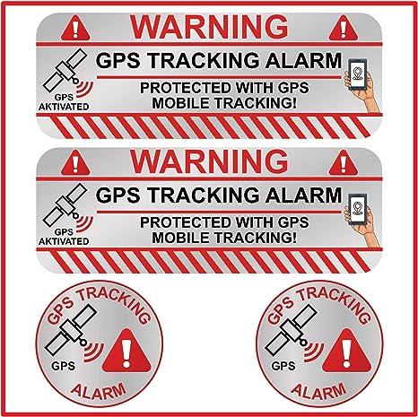 Kokotex Gps Aufkleber Auto 4 Stück Silber Klein Diebstahlschutz Tracking Alarm Tracker Sticker Für Fahrrad Boot Wohnmobil Handy Tablet Auto