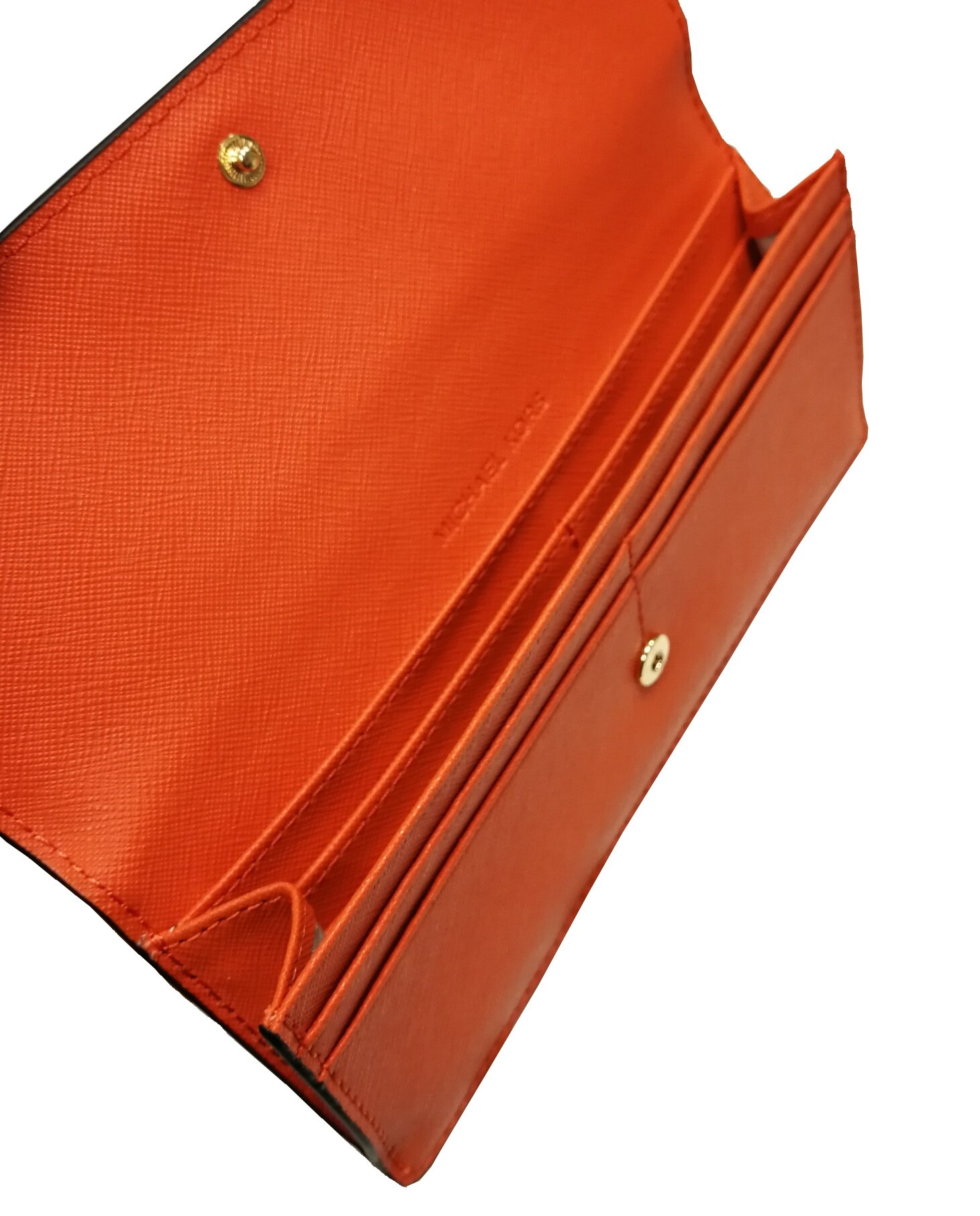 Michael Kors Jet Set Travel Flat Saffiano Leather Wallet (Tangerine Orange)