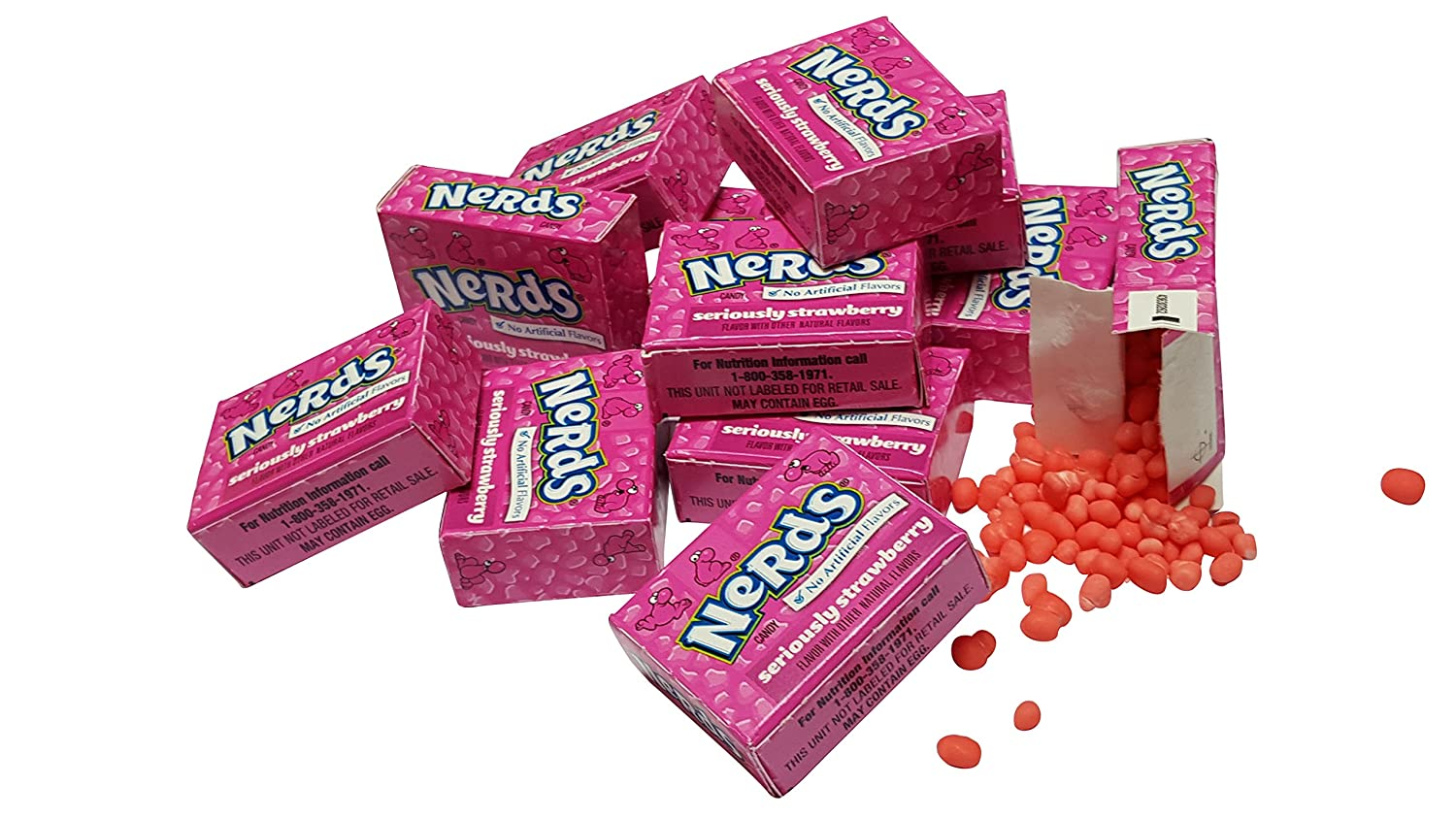 Amazon.com : Wonka Nerds Candy 60 Mini Boxes STRAWBERRY FLAVOR ONLY ...