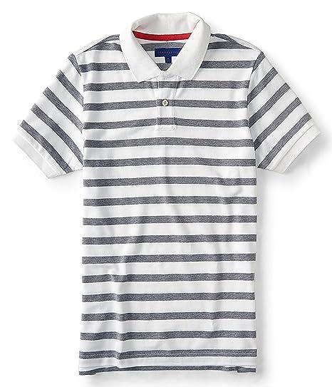 Aeropostale Men S Polo Shirt Stripped No Logo X Small Grey At