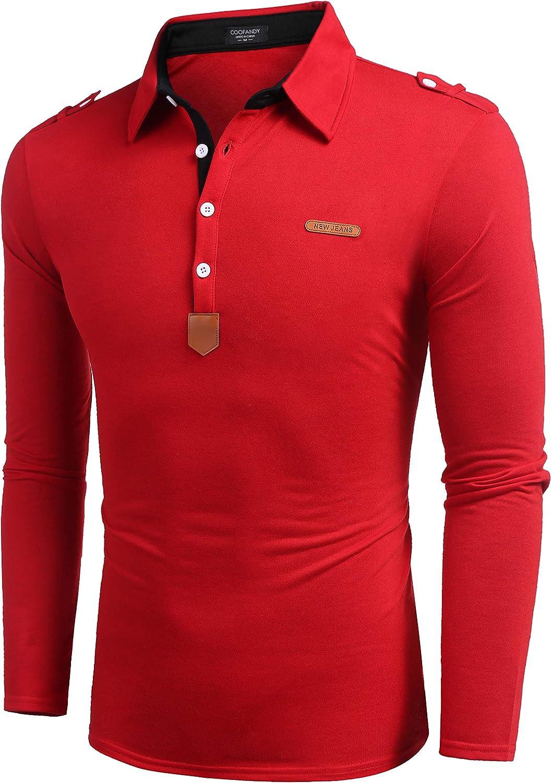 Coofandy - Camiseta polo de Hombre, de manga larga, cuello abotonado: Amazon.es: Ropa y accesorios