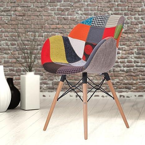 Myshop24h Sitzstuhl Stuhl Holzebeine Im Modernen Patchwork Design Und Einem  Buntem Stoffbezug   Relaxed Multi,