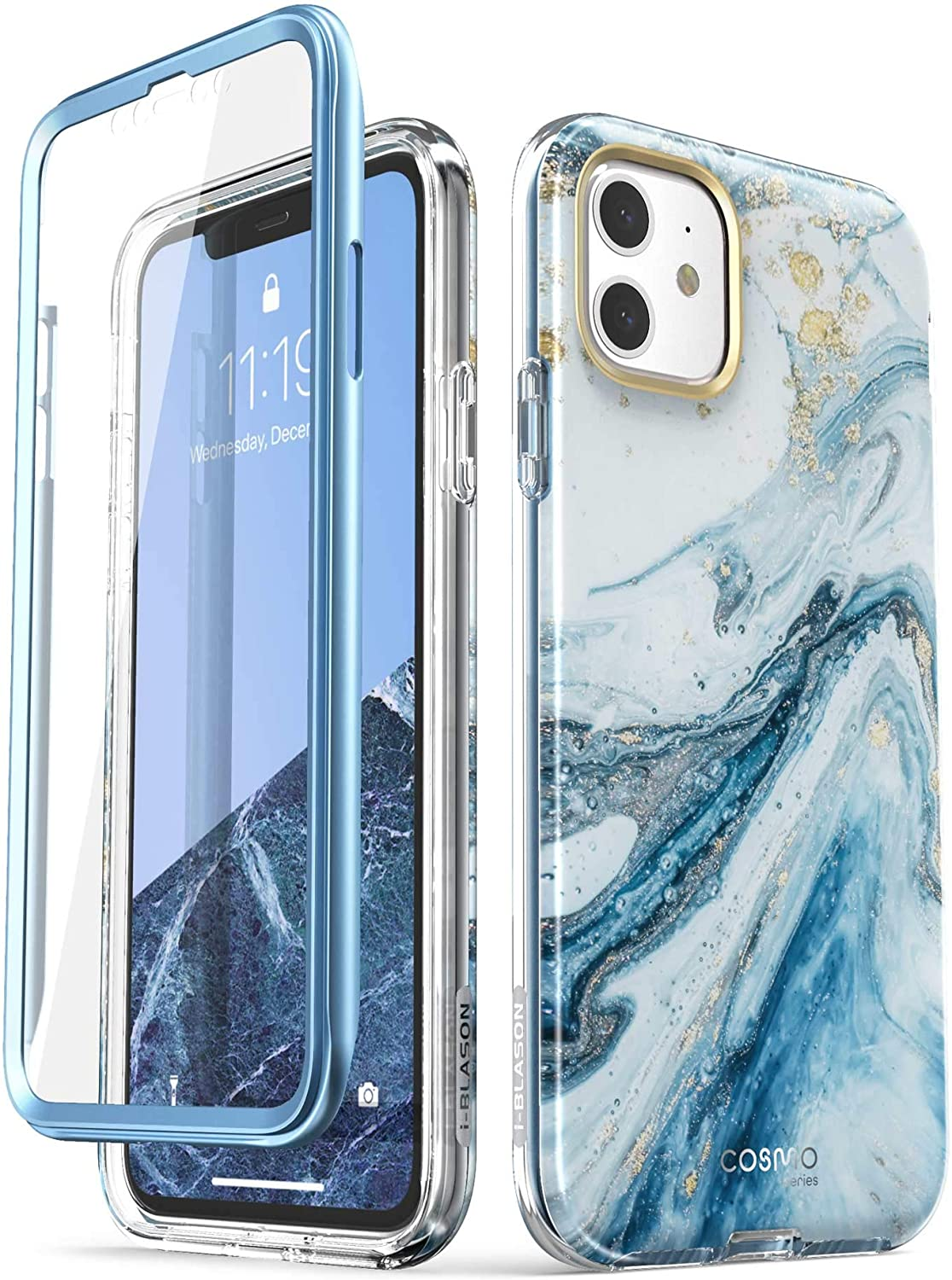 i-Blason Cosmo Series Case for iPhone 11 (2019 Release), Slim Full-Body Stylish Protective Case with Built-in Screen Protector, Blue, 6.1''