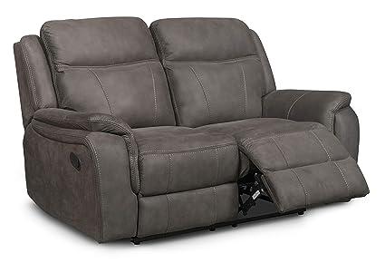 Strange Tyler 2 Seater Sofa Manual Recline In Grey Leather Air Creativecarmelina Interior Chair Design Creativecarmelinacom