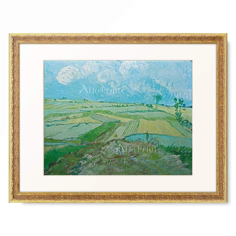 フィンセントファンゴッホ Vincent Willem van Gogh 「Weizenfelder in Auvers mit Regenwolken」 額装アート作品 B07PGCYC9S 07.装飾額 19mm(ゴールド) XL(額内寸 727mm×545mm) XL(額内寸 727mm×545mm)|07.装飾額 19mm(ゴールド)