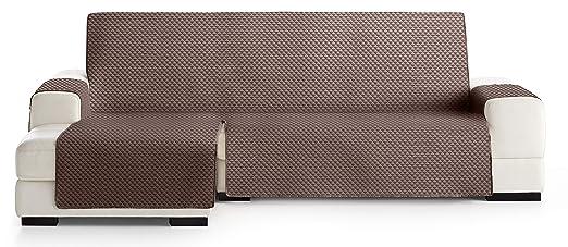 JM Textil Funda Cubre Sofá Chaise Longue Elena, Protector para Sofás Acolchado Brazo Izquierdo. Tamaño -290cm. Color Marrón 07 (Visto DE Frente)