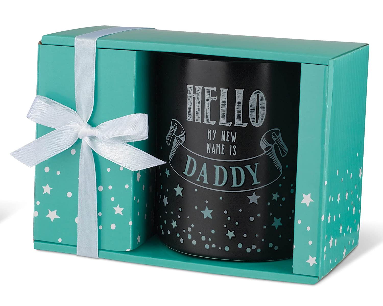 Made By Hands 60352 12-ounce Mug Black and Teal Ceramic with Gift Box 12 oz, Hello My NEW Name Is Daddy