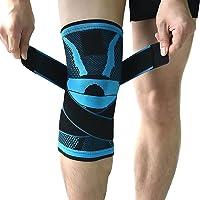 Genouillère de compression - Avec sangle de pression antidérapante réglable - Protection pour course à pied, sports, soulagement des douleurs de rotule et d'articulations, guérison d'arthrite et de blessures