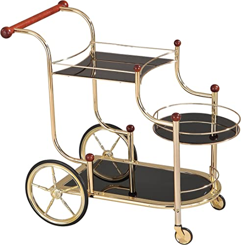 ACME Lacy Serving Cart – 98006 – Gold Plated – Cherry Wood Black Glass