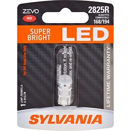 Amazon.com: SYLVANIA - 2825 T10 W5W ZEVO LED Red Bulb - Bright LED Bulb, Ideal for Interior Lighting (Contains 1 Bulb): Automotive
