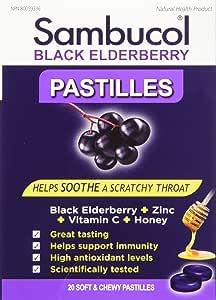 Sambucol Black Elderberry Pastilles, 20 Count