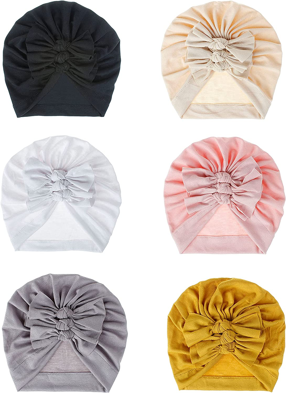 Bestjybt 6 Pcs Baby Turban Knot Hats Newborn Infant Toddler Hospital Hat Cotton Head Wrap