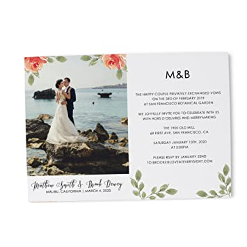 Amazon Com Floral Photo Elopement For Wedding Announcement Party