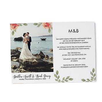 amazon com floral photo elopement for wedding announcement party