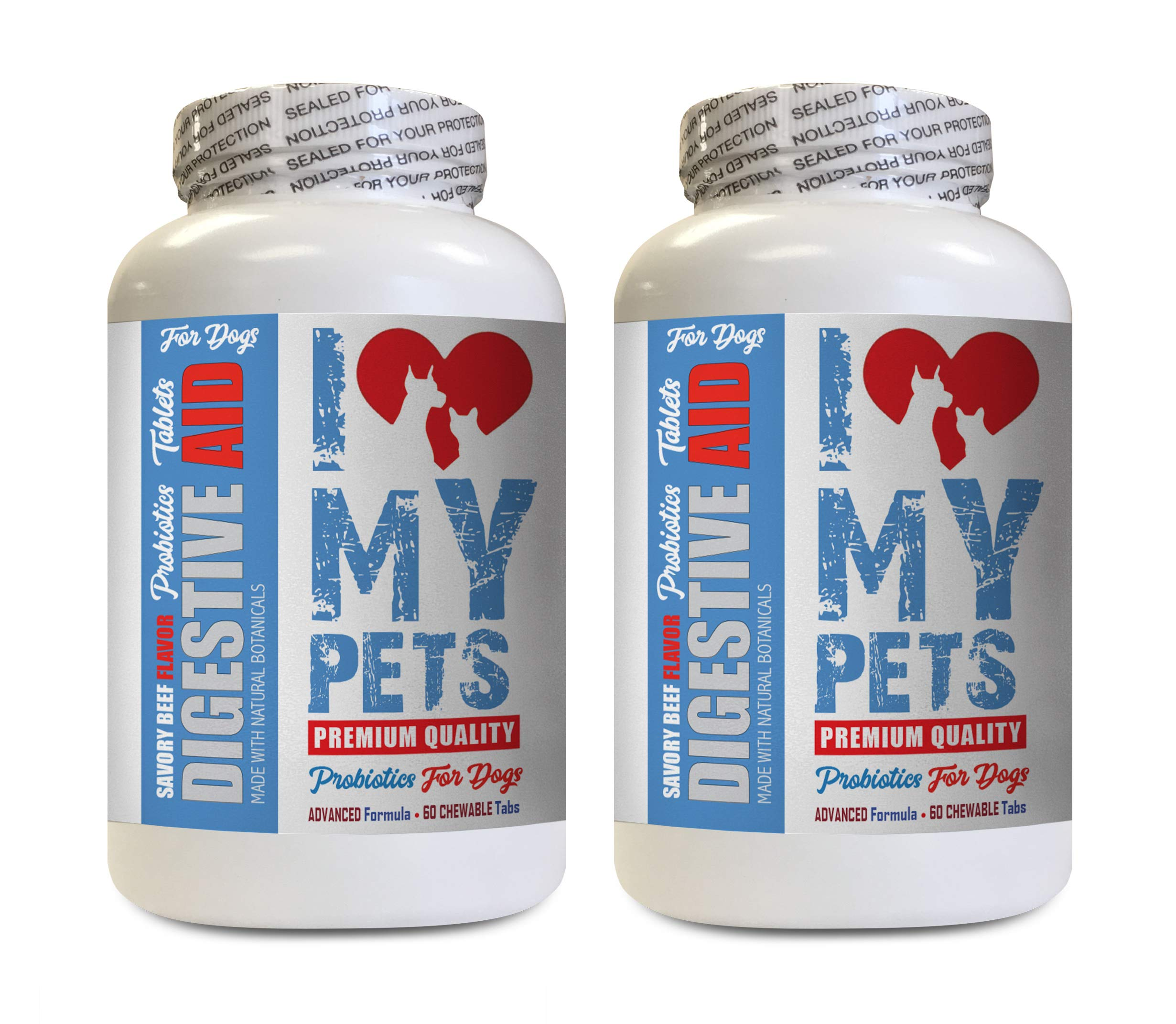 Digestive aid for Pets - Digestive AID for Dogs - PET PROBIOTIC Beef Liver Treats - 120 Treats (2 Bottles) by I LOVE MY PETS LLC