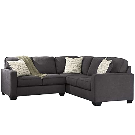 Marvelous Signature Design By Ashley Alenya 2 Piece Sofa Sectional In Charcoal Microfiber Ibusinesslaw Wood Chair Design Ideas Ibusinesslaworg