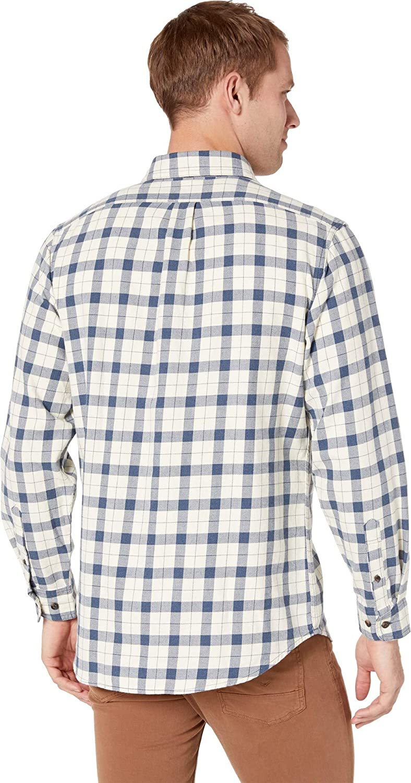 Filson Mens Lightweight Alaskan Guide Shirt Natural//Blue Heather Plaid X-Large