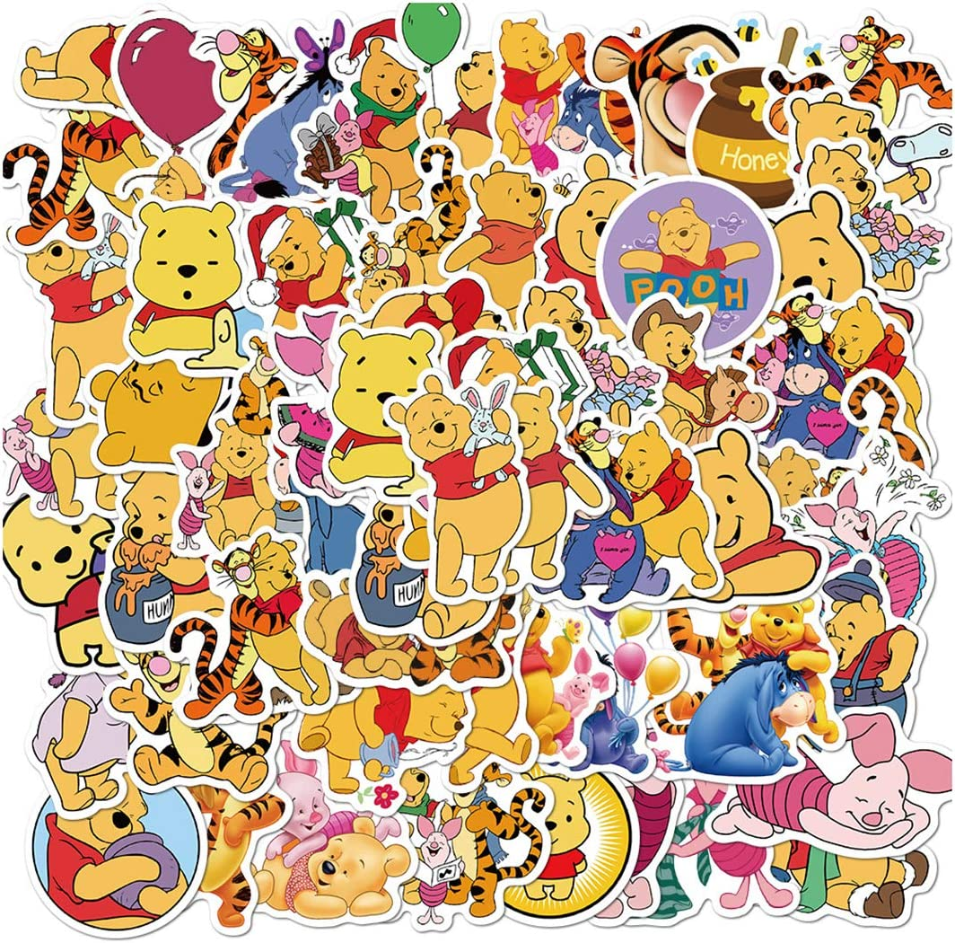 ARPA 50Pcs Winnie The Pooh Eeyore Tigger Stickers for Laptops Books Cars Motorcycles Skateboards Bicycles Suitcases Skis Luggage Cup Hydro Flasks etc DJHSL