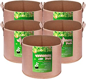 VIVOSUN 5-Pack 3 Gallons Heavy Duty Thickened Nonwoven Fabric Pots Grow Bags with Strap Handles Tan